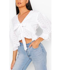 broderie tie front ruffle detail top, white