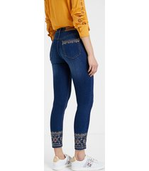 skinny ethnic embroidery jeans - blue - 29