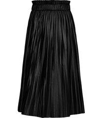 onlmie faux leather midi pleat skirt otw knälång kjol svart only