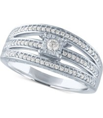 diamond multi-row promise ring (1/4 ct. t.w.) in sterling silver