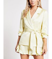 river island womens petite yellow tie belted blazer