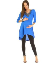 white mark maternity sofia embellished tunic top