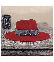 alpaca and wool blend felt hat, 'munay in crimson' (peru)