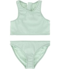 duskii girl aya zip bikini set - green