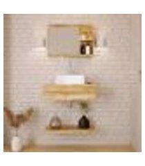 conjunto para banheiro bancada com cuba q32 quadrada, prateleira e espelheira city 606 carvalho