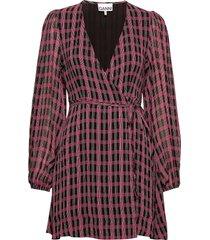 printed georgette korte jurk rood ganni