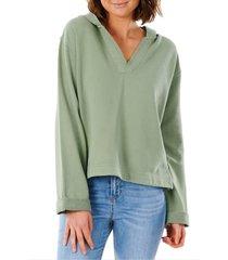 women's rip curl organic cotton fleece hoodie, size medium - green