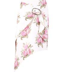 paco rabanne floral print skirt