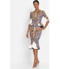 jurk met peplum en print
