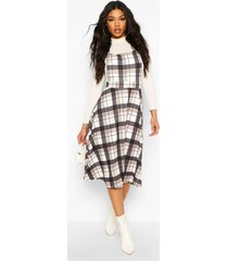 flannel pinafore dress, stone