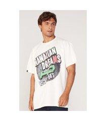 camiseta hd plus size estampada off white