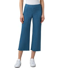 women's akris punto minata fringe crop stretch denim pants, size 14 - blue