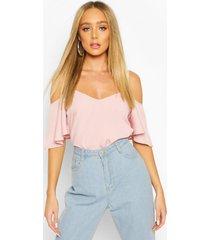 pastel cold shoulder cami top, blush
