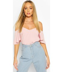pastel cold shoulder cami top, blush