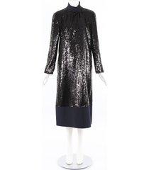 tibi sequin midi dress blue/black sz: xs
