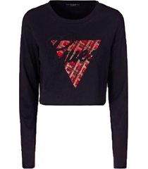 top ls cn cropped tee negro guess