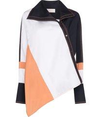 peter pilotto asymmetric colour-block shirt - white