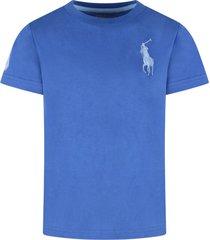 ralph lauren azure boy t-shirt with light blue iconic pony