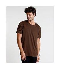 camiseta masculina manga curta básica gola careca marrom