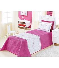 cobre leito amor solteiro rosa pink com 3 peças poliéster e polipropileno - aquarela