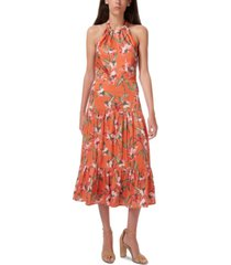 sam edelman halter floral-print tiered midi dress