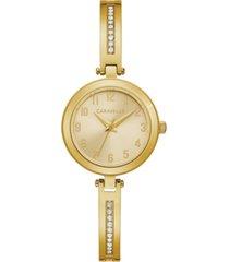 caravelle women's gold-tone stainless steel bangle bracelet watch 26mm gift set