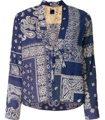 visvim bandana print tie front blouse - multicolour