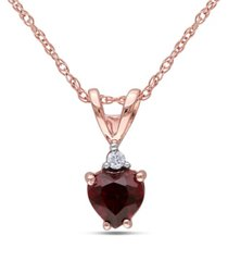garnet and diamond accent heart pendant with chain