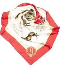 hermes les haras nationaux silk scarf red, multi sz: