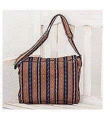 cotton messenger bag, 'straight paths' (el salvador)