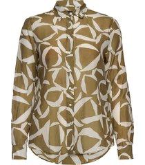 d1. crescent bloom co silk shirt overhemd met lange mouwen groen gant