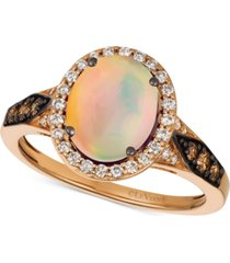 le vian chocolatier neopolitan opal (1-1/5 ct. t.w.) & diamond (3/8 ct. t.w.) ring in 14k rose gold