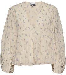 pleated georgette blouse lange mouwen ganni