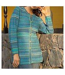 100% alpaca knit cardigan, 'texture trove' (peru)