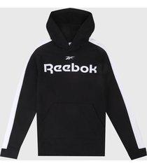 buzo negro-blanco reebok essentials linear logo
