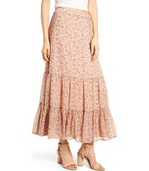 women's lost + wander floral print maxi skirt, size x-small - coral