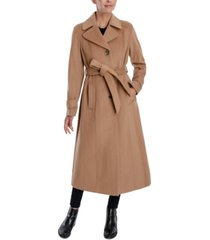 anne klein single-breasted belted maxi coat