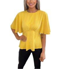 ax paris flared short sleeve blouse
