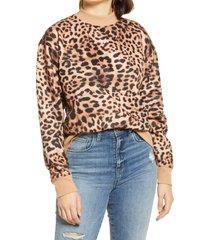 women's bp. mock neck graphic sweatshirt, size medium - brown