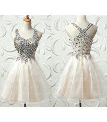 short beaded straps cross back light pink prom homecoming dresses 2017