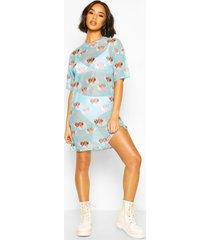 cherub print mesh t-shirt dress, blue