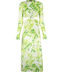 women's afrm lola leopard print cutout detail long sleeve midi dress, size small - green