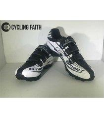 zapatillas para ciclismo de ruta smart sm3 sm0001m blanca negra