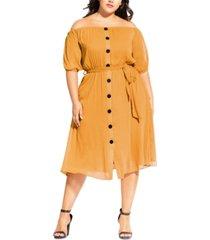 city chic trendy plus size button through dress