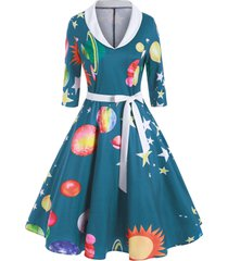 sun moon star print shawl collar a line dress