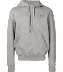 ami crew neck hoodie with red ami blue white red embroidery - grey