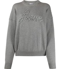 grey ribbon logo sweater