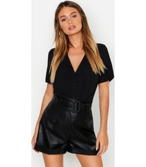 blouse met korte mouwen en knopen, zwart