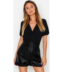 blouse met korte mouwen en knoopsluiting, zwart
