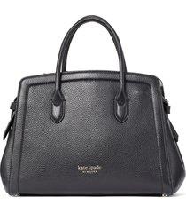 kate spade new york knott medium leather satchel - black
